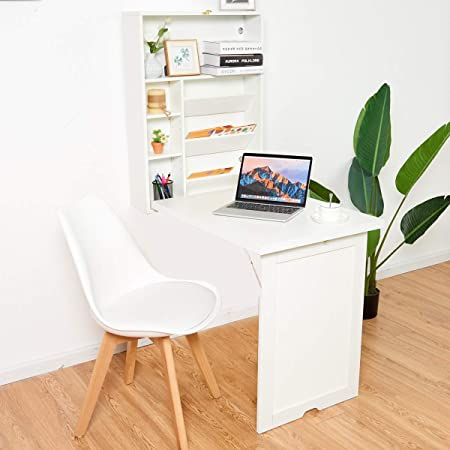 TANGKULA Wall Mounted Table, Fold Out Multi-Function Computer Desk, Convertible Desk Writing Desk Home Office Wood Convertible Desk Large Storage Area White