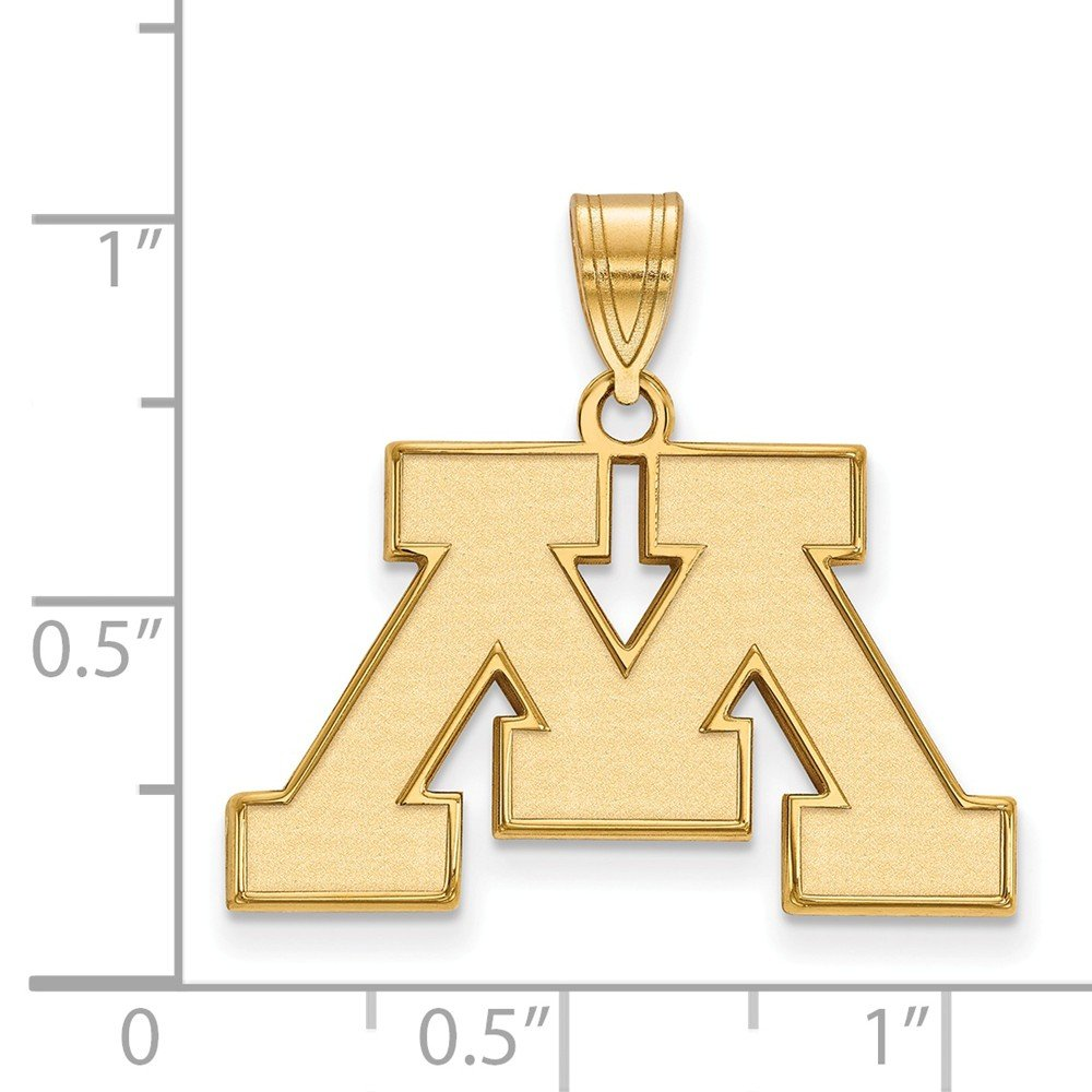 25mm x 24mm Solid 925 Sterling Silver with Gold-Toned University of Minnesota Medium Pendant