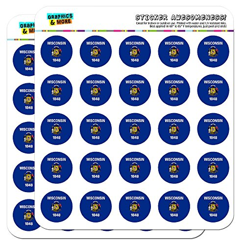 "Wisconsin State Flag 1"" Planner Calendar Scrapbooking Crafting Stickers - Clear"