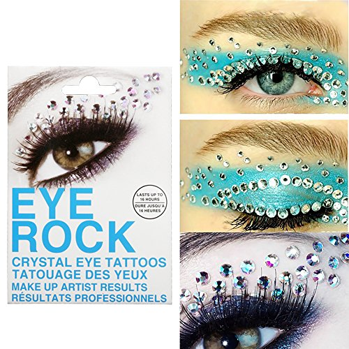 PrettyDiva 3D Eye Rock Crystal Eye Tattoos Cat Eye Winged Temporary Eye Shadow Makeup Diamond -6 - Eye Simple Cat