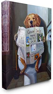 Stupell Industries Dog Reading The Newspaper On Toilet Funny Painting Canvas Wall Art, 24 x 30, Design by Artist Lucia Heffernan