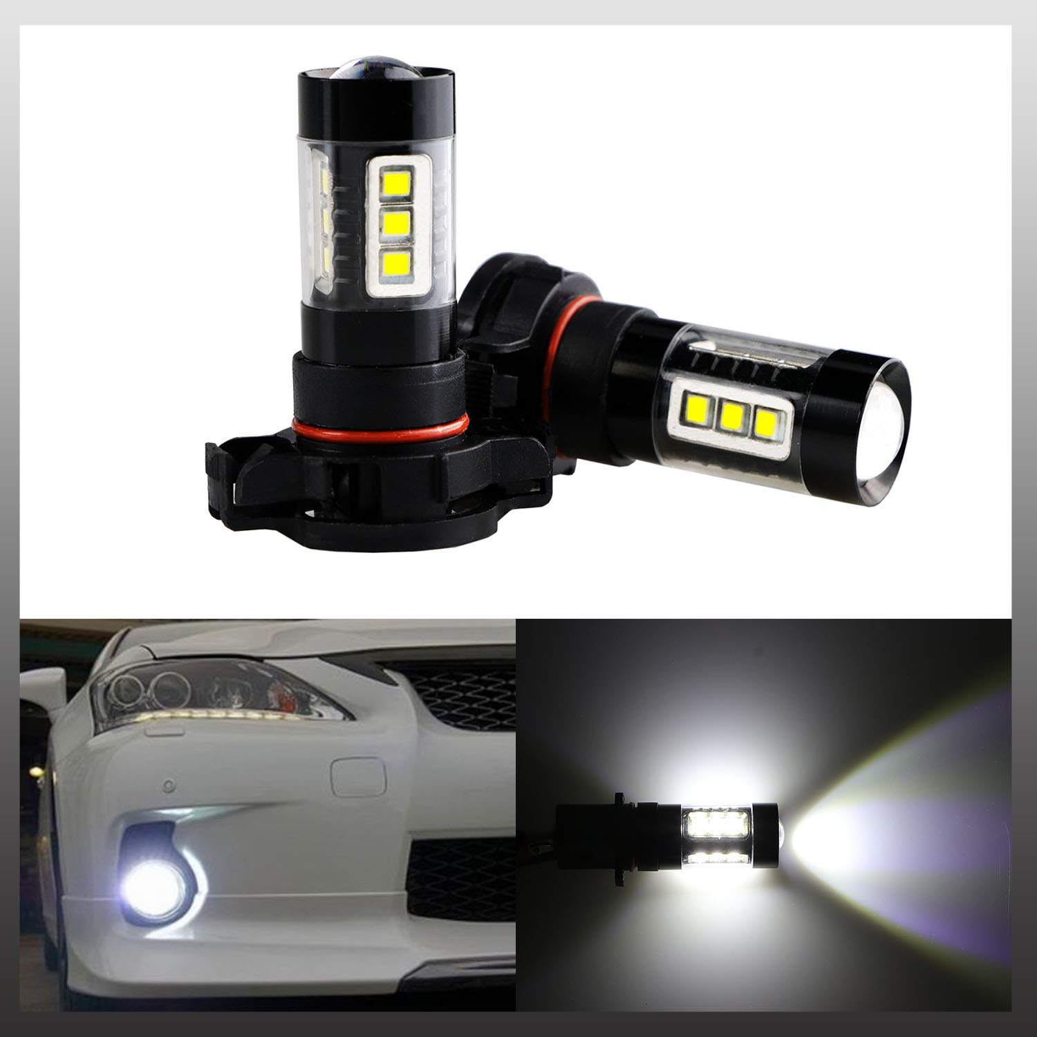 Pack of 2 9040 9045 9140 9145 9050 9155 H10 PY20D Fog Light Bulbs LED H10 Ultra Extremely Bright 16 SMD 3030 Gold Yellow Driving Light Bulbs Lamps