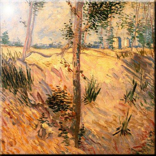 Rikki Knight Van Gogh Art Trees in a Field on a Sunny Day Design Ceramic Art Tile 8 x 8