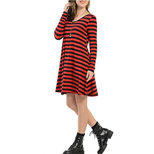 Amazon Hayasf Women Dress Womens Long Sleeve Casual Striped T