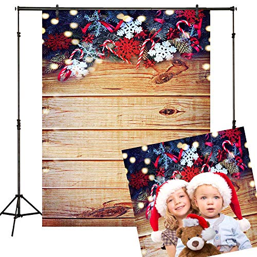 Funnytree 5x7ft Christmas Retro Wood Backdrops for Photography Wooden Board Boket Spots Glitter Snowflake Background Rustic Faux Panel Flat Newborn Baby Portrait Photobooth Photo Studio Props