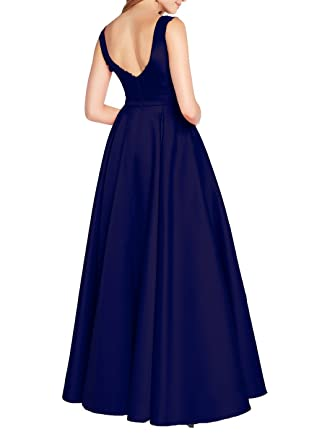 Long Open Back Bridesmaid Dresses 2018 New Navy Blue Us26 Plus Size