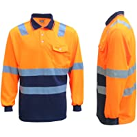Zmart Australia HI VIS Long Sleeve Workwear Shirt w Reflective Tape Cool Dry Safety Polo 2 Tone