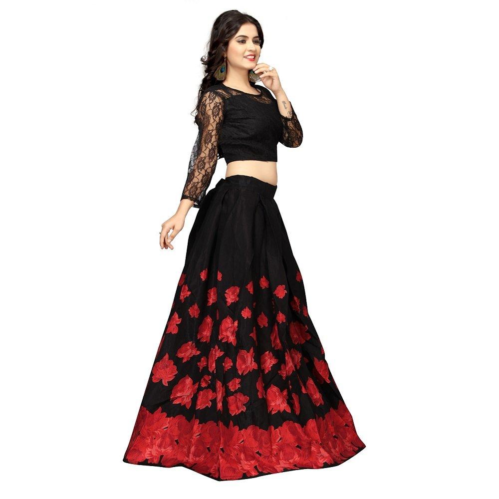 689f3eea2b Nena Fashion Women's Satin Semi-stitched Lehenga Choli (Black and Red, Free  Size): Amazon.in: Clothing & Accessories