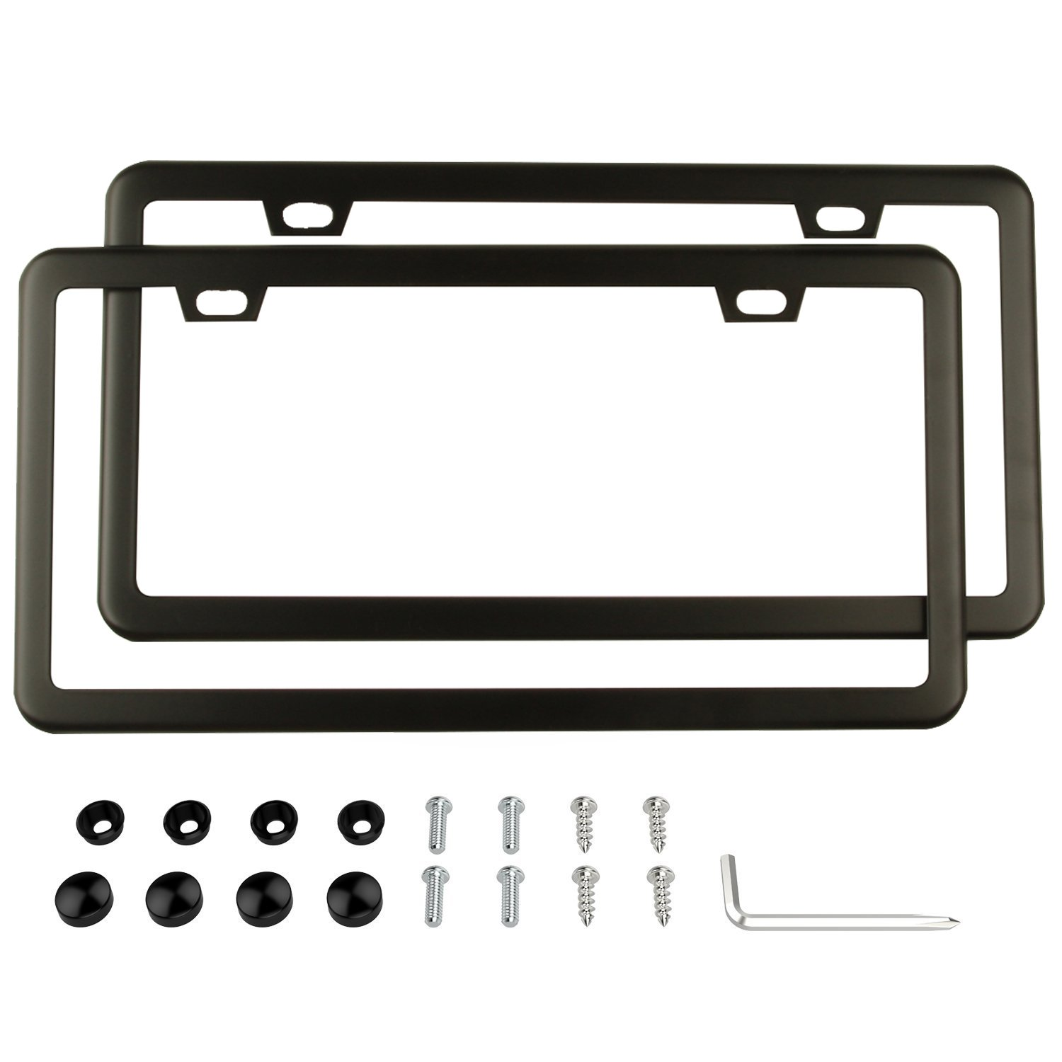 2-Hole Black Black License Plate Frames Stainless Steel Car Licence Plate Covers Slim Design 2 PCS with Bolts Washer Caps for US Standard