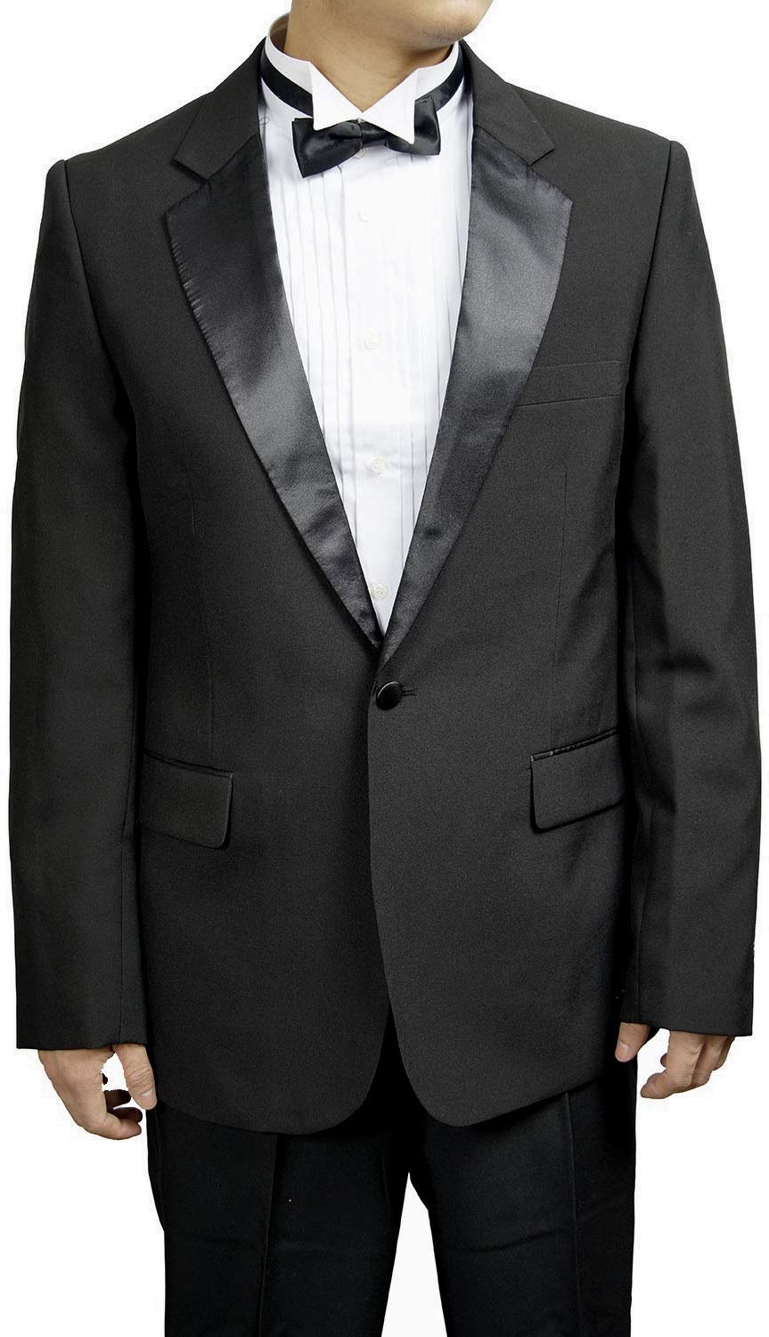 Broadway Tuxmakers Mens 1 Button Black Classic Notch Collar Tuxedo Jacket (48S) by Broadway Tuxmakers