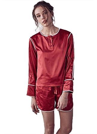 Mujer Sexy Seda Conjunto de pijamas Señoras 2 piezas Casual Ropa de dormir , Red ,