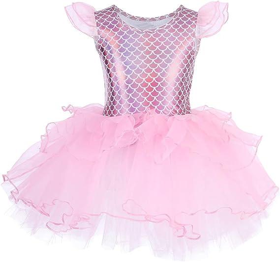 Kid Girl Ballet Dress Gymnastics Leotard Dress Little Mermaid Dancewear Costume