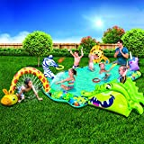 BANZAI Safari Animal Adventure Pool, 162' L x 117' W x 32' H Inflatable Activity Pool, 6 Ways to Play