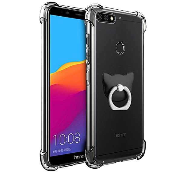 Huawei Honor 7C/Y7 2018/Y7 Prime 2018 Case, FoneExpert Soft TPU Transparent  Clear Slim Gel Silicone Cover Case with 360° Rotation Kickstand Ring For