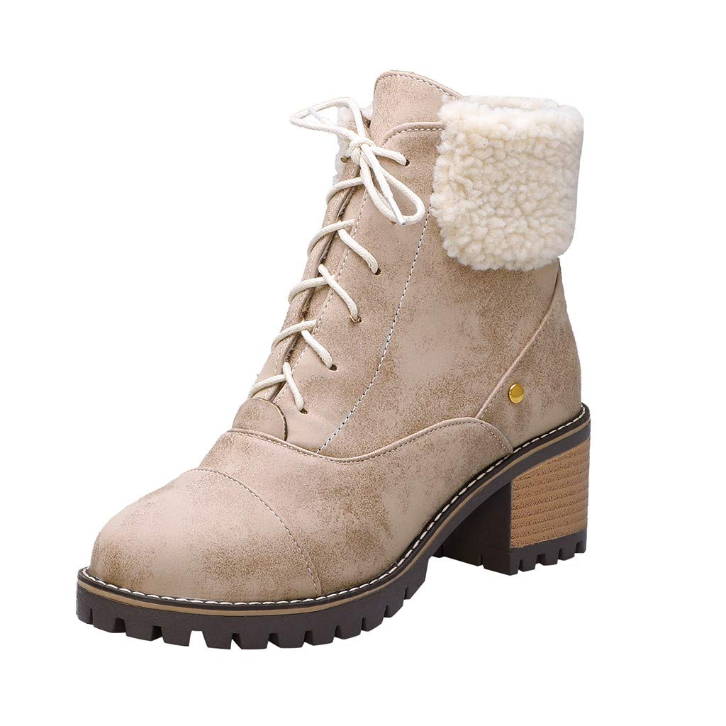 HebeTop Women Cute Warm Short Boots Suede Chunky Mid Heel Round Toe Winter Snow Ankle Booties by HebeTop➟Shoes Accessory