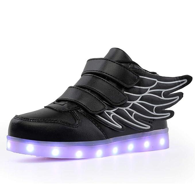 71e2e33991b0 Boys Girls 7 Colors LED Luminous Knit Sneakers Fashion USB Charging Light  Shoes Black EUR 25