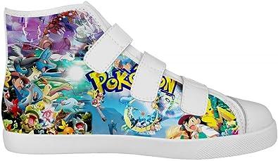 NEW Fashion Girl /& Boys Pokemon Pikachu Sneakers High-Top Canvas shoes