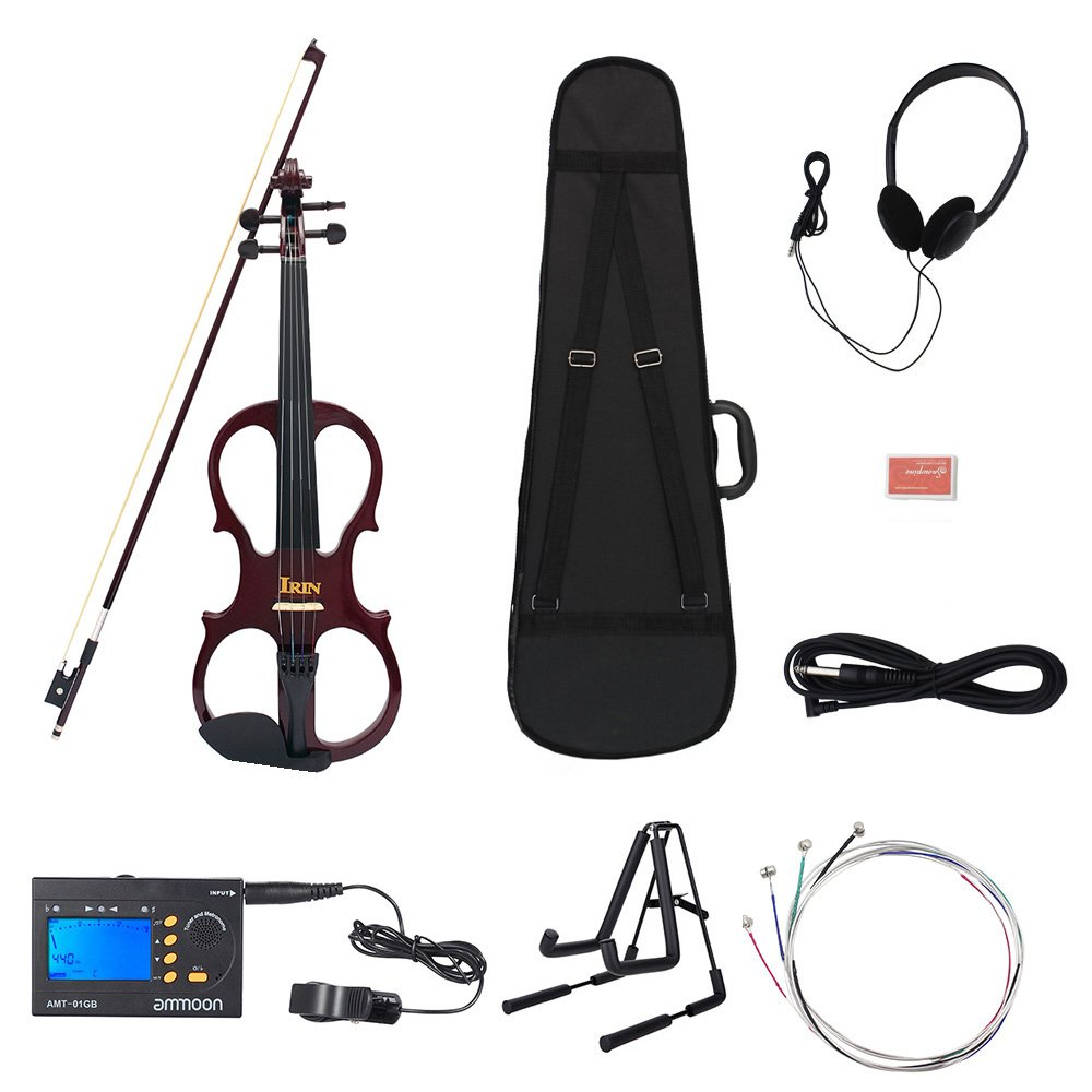 Andoer 4/4 Wood Maple Electric Violin Fiddle Stringed Instrument with Headphone Steel Strings Set 3-in-1 Electric Tuner + Metronome + Tone Generator and A-Frame Stand Violins