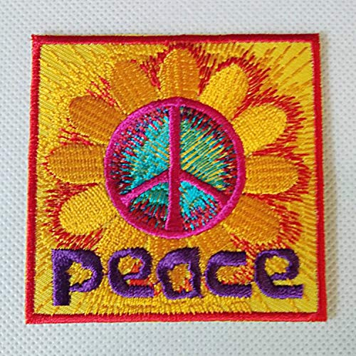 Zazza95 New Bright Yellow Red Purple Peace Sunflower Retro Rider Biker Sign Embroidered Sew Iron On Patch Badge Fabric Applique Handmade Art Craft Transfer Sequin DIY Clothes Clothing Shirts Jeans - Peace Sign Sequin