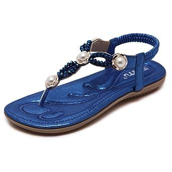 FEITONG Damen Sandalen Zehentrenner Bohemian Strass PU Leder Flach Sandaletten Sommer Strand Schuhe (EU:40=CN:...