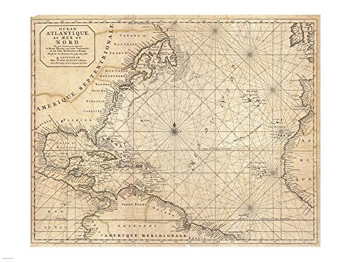1683 Mortier Map of North America, The West Indies, and The Atlantic Ocean Art Print, 40 x 30 inches