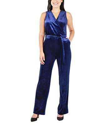 aa44dd179aa Amazon.com  NY Collection Women s Petite Sleeveless Faux Wrap Velvet  Jumpsuit  Clothing