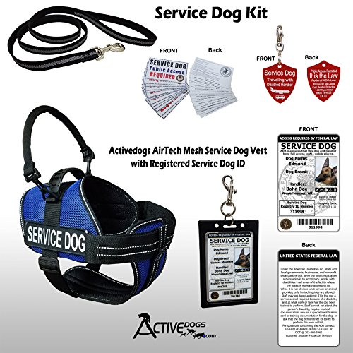 Activedogs Service Dog Kit Airtech Mesh Service Dog Vest Harness + Free Registered Service Dog ID + Clip-on Bridge Handle + 30 ADA/Federal Law Cards + Service Dog Travel Tag (L, Blue) by Activedogs (Image #10)
