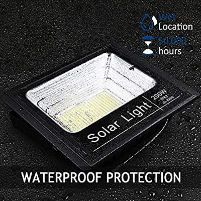 2019 Upgraded 200W LED Solar Flood Light 400LED Dusk to Dawn Solar Powered Street Light Outdoor Waterproof IP67 with Remote Control Solar Chargeable Flood for Backyard|Garage|Driveway|Basketball Court
