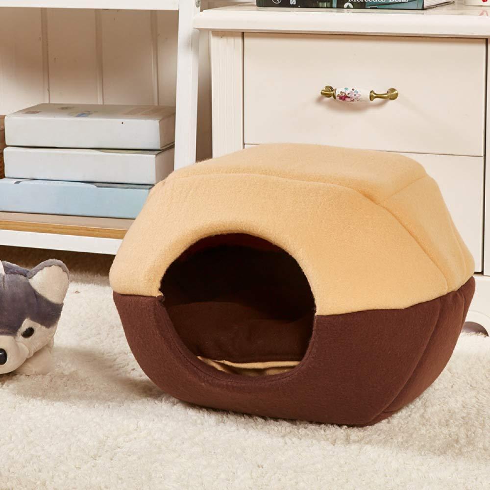 JIAQING Perrera Extraíble Y Lavable Nido para Mascotas De Verano Yurt Cat House Franela, Esponja, PP Algodón Suministros para Mascotas,Brown(S)