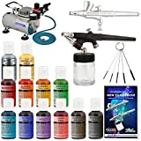Master Airbrush Complete Cake Decorating Set – with 12 Chefmaster Airbrush Cake Color Set .7 fl oz that is FDA approved and a (FREE) How to Airbrush Instructional Guidebook