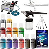System Includes: Master Airbrush Model G34 Airbrush Set Comes with a 0.3mm needle/nozzle and a 1/16 oz. angled gravity cup that allows for work on horizontal surfaces. Dual-Action (Double-Action) Trigger Air/Fluid Control. (Full 1-Year Warran...