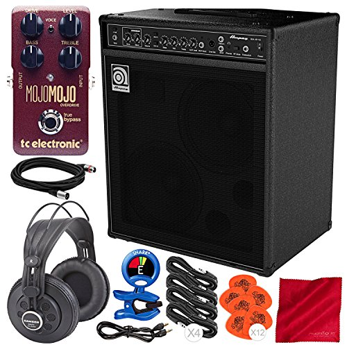 (Ampeg BA-210V2 450W 2x10 Combo Bass Amplifier and Premium Bundle w/TC Electronic MojoMojo Overdrive Tube Amp Overdrive Effect Pedal + Studio Headphones + Much More)
