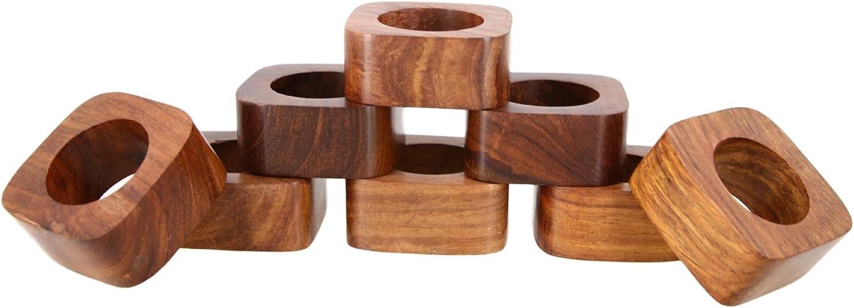 Shalinindia Handmade Wedding Party Decorations Wood Napkin Rings Set of 8 for Dinner Ideas