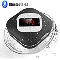 Waterproof Bluetooth Shower Radio Speaker with LED Screen, AGPTEK Hands-Free Portable Wireless Speaker with Suction Cup…
