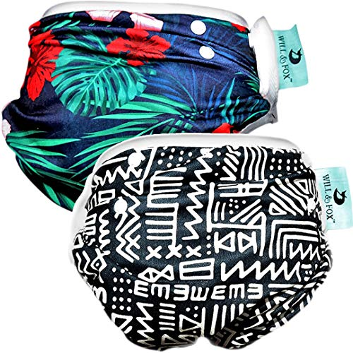 (2 PACK Reusable Swim Diapers Newborn - Toddler Bathing Suits for Girls & Boys Adjustable 0-3 Years (36lbs) Quality Baby Beach Gear, Baby Stuff that's Stylish!)