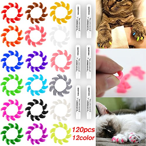 120Pcs(12Color) Cat Claw Caps Soft Rubber Pet Paws Nail Grooming Cover + 6 Pcs Adhesive Glue(S) - Soft Claws Kittens