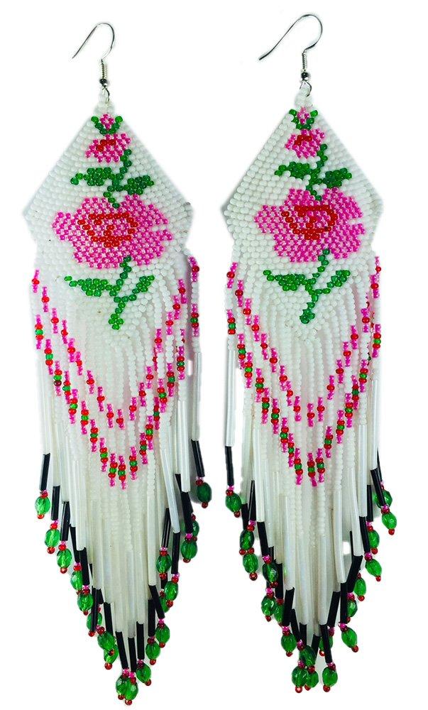 BeadsCorner Glass Beaded Extra Long Earrings Rose Design (White)
