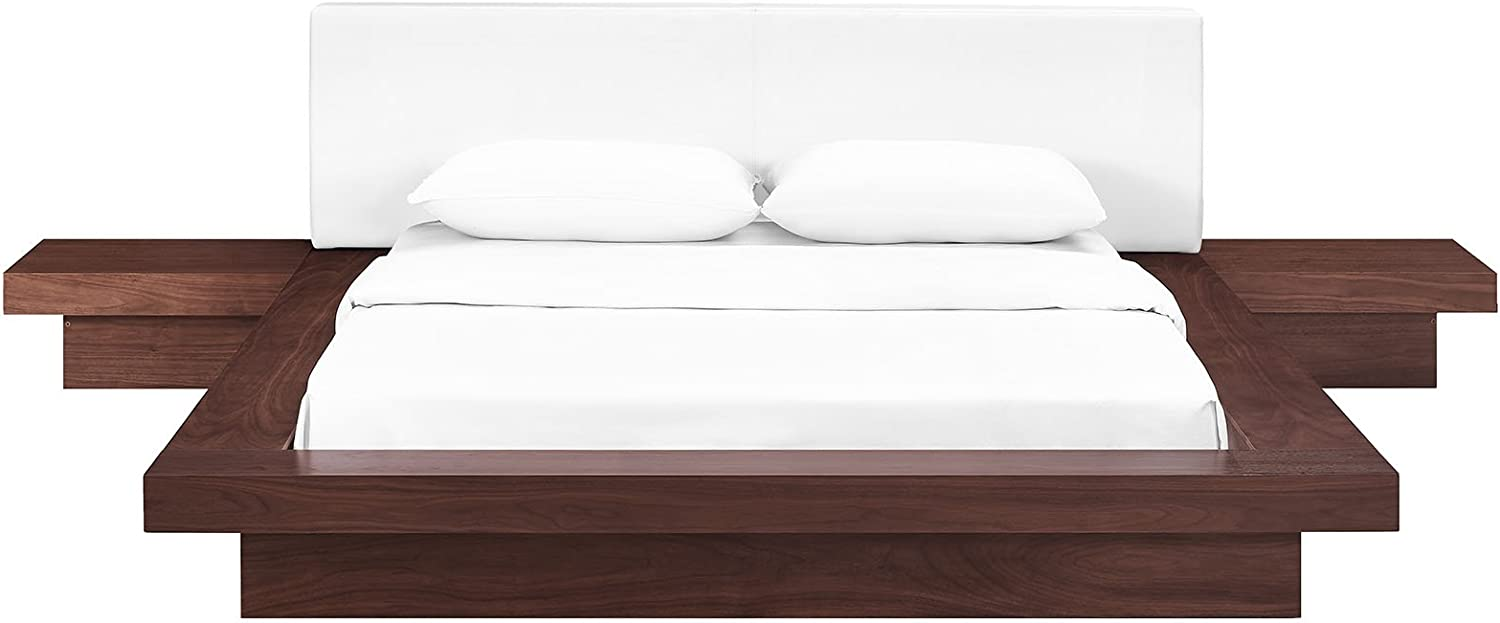 Modway Freja Faux Leather Upholstered Queen Size Platform Bed