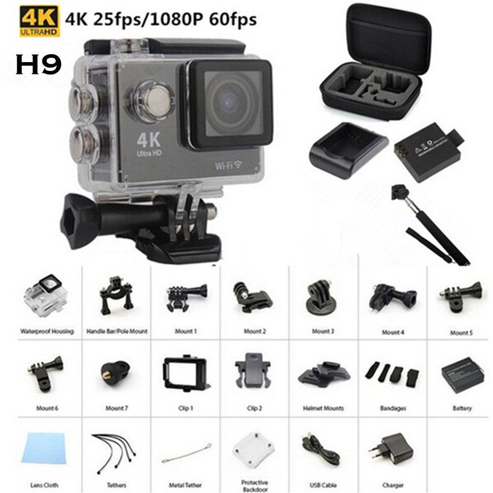 sansnail H9Outdoor Action cámara Mini de 30metros resistente al agua Ultra HD 4K Deportes DV Cam DV Acción Videocámara para recomienda Agua Actividades Video Shooting con Wi-Fi 3PIN UK Cargador de baterí