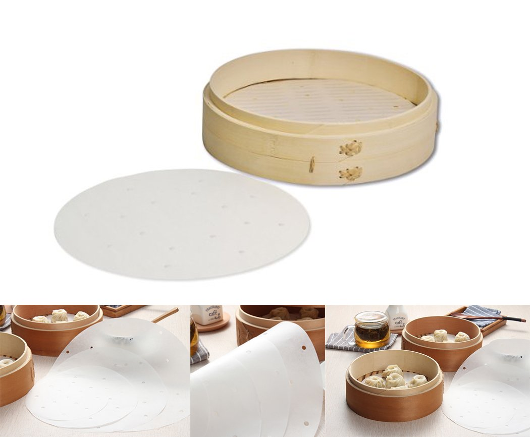Co 8 inch NeeJee 50Ct Parchment Steamer Basket Paper Bamboo Tray Dim Sum Steam Mat NeeJee Ltd