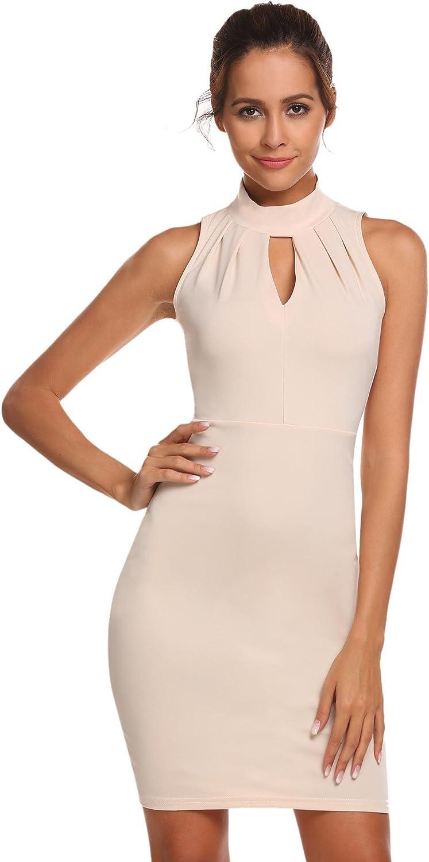 Meaneor Damen /Ärmellos Neckholder Kleid Business figurbetontes Etuikleid Knielang Cocktailkleid Casual Sommerkleid