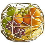 VonShef Large Gold Geo Fruit Bowl for Kitchen Countertops, Stainless Steel Wire Frame Basket, FDA Approved For Food Use, 10 x 8 Inches