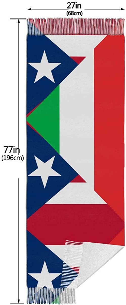 Italy and Puerto Rico Flag Cashmere Scarf Shawl Wraps Super Soft Warm Tassel Scarves For Women Office Worker Travel