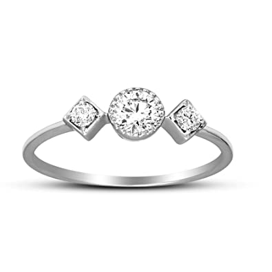 Jewelry & Watches Fine Jewelry Friendly 10k White Gold Three Diamond Ring Skillful Manufacture
