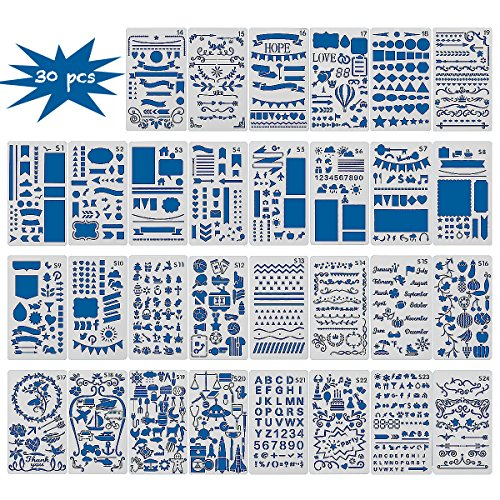 30PCS Bullet Journal Templates Painting Stencil Set-Notebook/Diary/Scrapbook Plastic DIY Drawing Template,4x7 Inch by Bridget Bobby