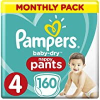 Pampers Baby-Dry Nappy Pants Size 4 Toddler (9kg-15kg), 160 Nappy Pants, Monthly Pack