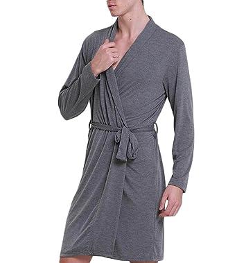 DAFREW Ropa de dormir de los hombres de verano sección fina camisón modal pijamas Cómodo y transpirable albornoz albornoces tener una correa: Amazon.es: ...