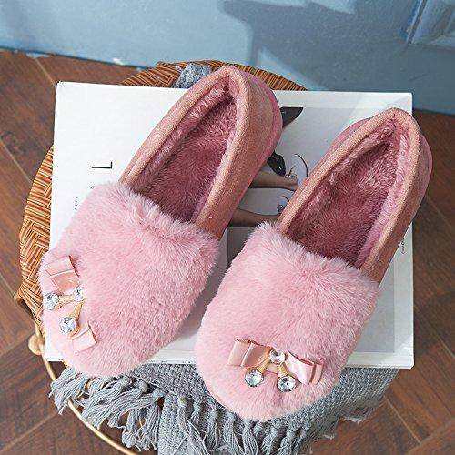 Laxba 37 Caldo Pattini Pantofole Inverno Scivolare Camera Port Per Pink38 Caldo Inverno adatto Morbide AfAFr