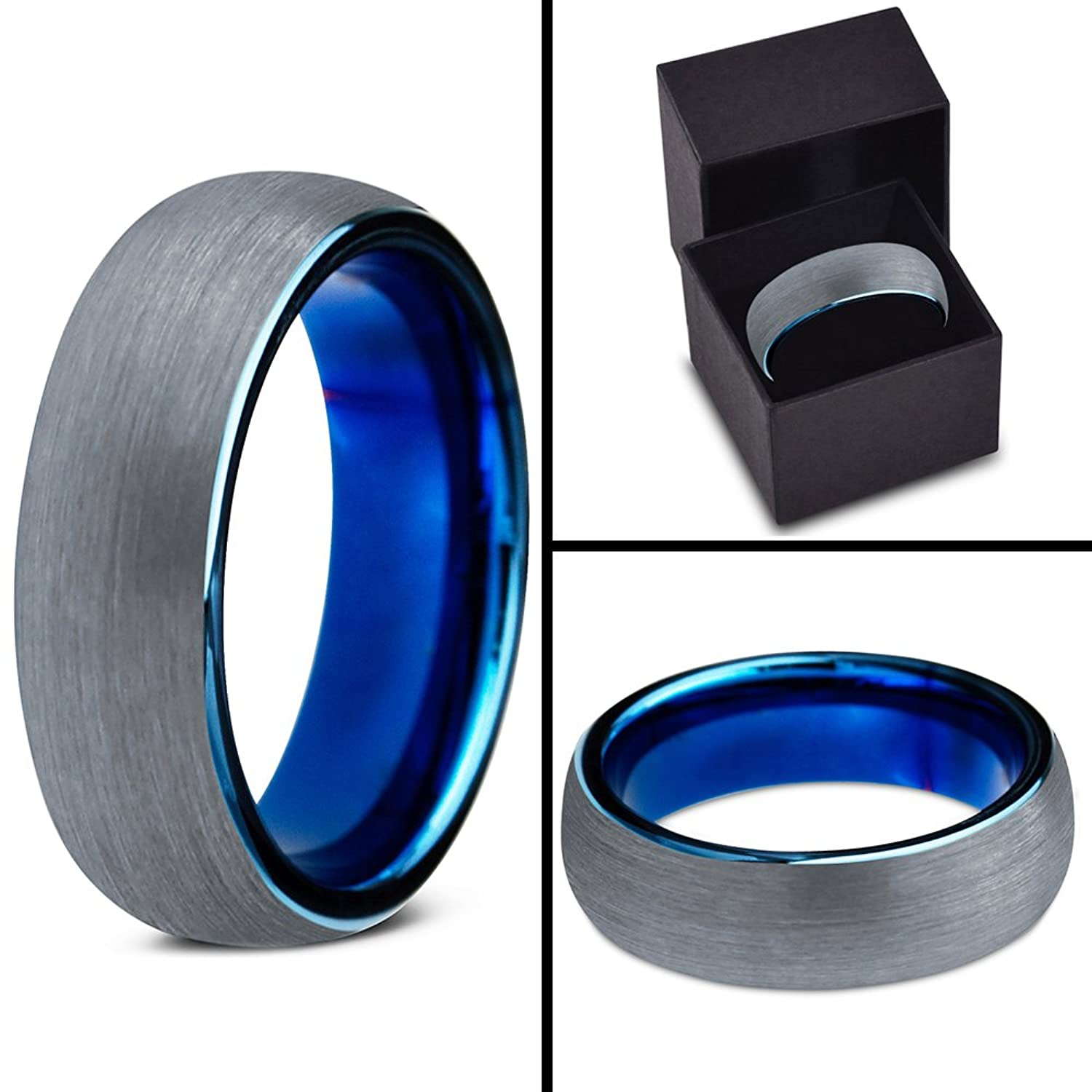 Charming Jewelers Blue Round Domed Brushed Tungsten Wedding Band