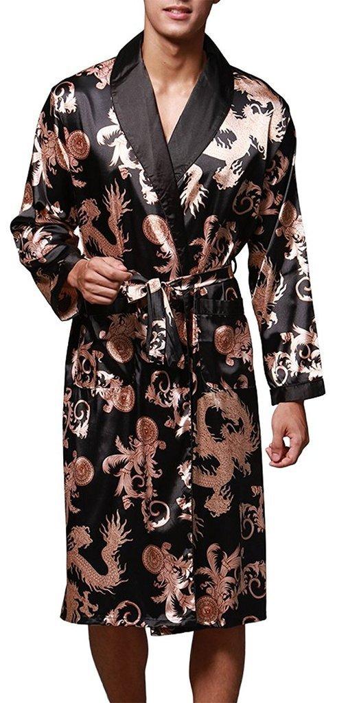 VERNASSA Uomo Accappatoio, Lungo in Raso Pigiami e abbigliamento/Notte Satin Vestaglie/Kimono Bagno Vestito, Evening Dressing Gown, L-XXL, Multicolore & Stili di Moda